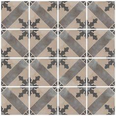 Lovely modern twist on traditional encaustic Victorian Minton style tiles. 'Casablanca Mono' range from Mandarin Stone. Hall Flooring, Limestone Flooring, Stone Porches, Mandarin Stone, Hallway Designs, Bath Tiles, Glazed Tiles, Backyard Patio Designs, Style Tile