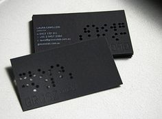 Grosz Co Lab business cards, white letter engraved on black stock, blind embossed and laser cut 'reversed braille'.