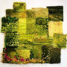 Fields by Deborah Collum Textile Fiber Art, Textile Artists, Embroidery Art, Embroidery Stitches, Fabric Art, Fabric Crafts, Creative Textiles, Collage Techniques, Crazy Patchwork