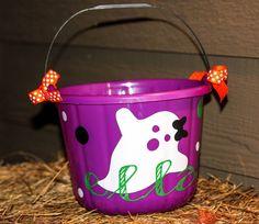 Purple DIY halloween bucket. Ghost design. Doodle Bear Design. $15.00