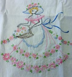 Vintage Embroidery Designs Southern Belle Dresser Scarf or Table Runner Handmade with vintage lace Embroidery Scissors, Embroidery Transfers, Hand Embroidery Patterns, Vintage Embroidery, Ribbon Embroidery, Cross Stitch Embroidery, Embroidery Designs, Handkerchief Embroidery, Crewel Embroidery