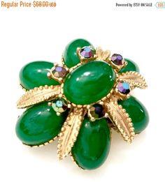Sphinx Emerald Green Brooch Emerald Green Oval by Vintageimagine