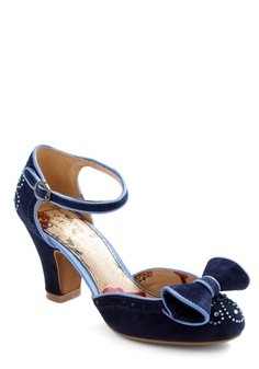Country Glam Heel by Miss L Fire - Blue, Bows, Rhinestones, Party, Pinup, Wedding