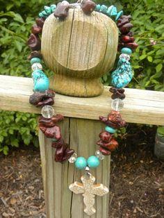 Western  Cross Magnesite Necklace  Brown by DesignsofFaithandJoy, $27.00