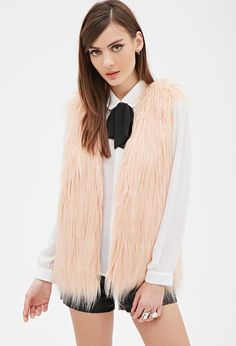 Shaggy Faux Fur Vest | FOREVER21 -  wear with black skinnies and booties with heels