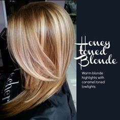 Honey blonde: warm blonde highlights with caramel-colored lowlights # fashiondesign # . - Honey blonde: warm blonde highlights with caramel-colored lowlights # fashion design - Caramel Blonde Hair, Warm Blonde Hair, Honey Blonde Hair, Light Caramel Hair, Warm Blonde Highlights, Blonde Color, Honey Blonde Highlights, Low Lights Hair, Hair Color And Cut