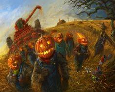 Scary Halloween Harvester Pumpkin Barn Witch HD Desktop Wallpaper