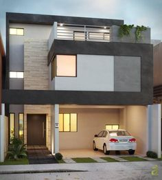 House in lomas de la rioja: stylish houses of arqing Duplex House Design, House Front Design, Modern House Design, Style At Home, Architecture Design, Design Exterior, Dream House Plans, Facade House, Minimalist Home