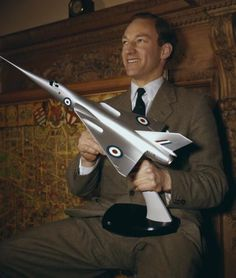 """""""Aviator Peter Twiss pictured with the model of the Fairey Delta 2 'Droop Snoot', circa Twiss piloted the plane which was the first to exceed miles per hour in March (Photo by Hulton Archive/Getty Images)"""" Post War Era, Experimental Aircraft, Popular Music, Military Aircraft, Air Force, Fighter Jets, Heroines, Pilots, History"""