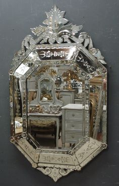 Large Antique Venetian Mirror from www,jasperjacks.com                                                                                                                                                                                 More