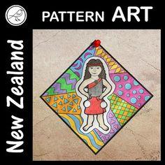 New Zealand Pattern Art School Resources, Classroom Resources, Art Classroom, Line Patterns, Cool Patterns, Map Of New Zealand, Cultural Identity, Kiwiana, Primary School