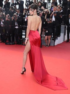 You Must See Bella Hadid's Red Hot Dress with a Sky-High Slit from Every Single Angle Red Carpet Dresses, Satin Dresses, Strapless Dress Formal, Formal Dresses, Glamour, Bella Hadid, Gigi Hadid, Hot Dress, Cannes Film Festival