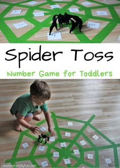 Spider Toss Number Game for Toddlers - Creative Family Fun Number Games For Toddlers, Number Games Preschool, Fun Activities For Toddlers, Number Activities, Motor Activities, Games For Kids, Counting Activities, Fun Halloween Activities, Preschool Halloween