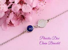 Phaistos Disc good luck eye silver bracelet, good luck eye bracelet, eye bracelet, chain bracelet, silver chain bracelet, Phaistos bracelet by GreekGoddessJewelry on Etsy