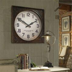 Uttermost Warehouse Wall Clock W/ Grill (06083)