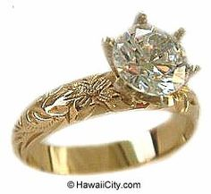 Hawaiian Heirloom Jewelry 14k Yellow Gold Engagement Rings In WHITE GOLD