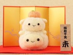 DIY handmade Wool Felt kit New Year Sheep by 1127handcrafter  Adorable white sheep stacked like the Special New Years Kagami Mochi~ So cute~!