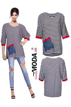Módna pruhovaná dámska blúzka v trendy vzhľade ušitá z hodvábu, skladom vo veľkostiach i pre moletky. Trendy, Jar, Pants, Dresses, Women, Fashion, Trouser Pants, Vestidos, Moda