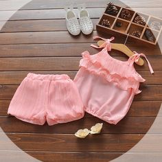 Buy Peach Trendy Top and Shorts Set online @ Girls Frock Design, Kids Frocks Design, Baby Frocks Designs, Baby Dress Design, Baby Top Design, Baby Girl Frocks, Baby Girl Party Dresses, Dresses Kids Girl, Kids Outfits