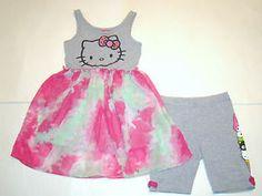 Details about  Hello Kitty Friends Gray Pink Tie-Dye Tunic Tank Top Dress/Shorts Set Girl M 7 8