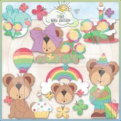 Rainbow Bears 1 - NE Trina Clark Clip Art