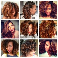 """(Styles shown: fingercoils, two strand twists, wash and go, flatironed, flexirod curls, three strand twistout, two strand twistout, perm rod curls, wand curls)"""""""