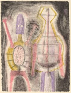 """Rufino Tamayo (Mexican), """"Deux Fils,"""" lithograph (zinc and stone) in pink, green, violet and gray-black on white Nacre paper Norton Simon, Hispanic Heritage Month, National Gallery Of Art, Art Object, South America, Mexico, Objects, Museum, Artwork"""