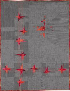 """Interpolations 3"" by Helen Howes. Made with Ruby Reds on the subtle grey of Lipari Pollara. Oakshott Fabrics."