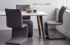 Structube – SARAH Dining table $399, SPRING Chair $199