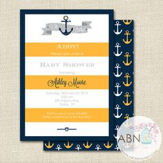 Nautical Baby Shower Invitation - Ahoy Shower - Gender Neutral Baby Shower -Yellow and Navy - DIY PRINTABLE