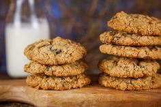 A stack of chewy oatmeal cookies with dried blueberries and crystallized ginger. Photo and recipe by Irvin Lin. www.eatthelove.com