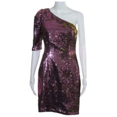 Pre-owned Badgley Mischka Dress ($141) ❤ liked on Polyvore featuring dresses, none, one-sleeve dress, rose gold sequin dress, rose gold dress, one sleeve cocktail dress and sequin dress
