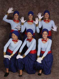 $25.00 Genie - Mini, blue leotard, blue harem pants, red sash, gloves, blue turban, gold cuffs, red bow tie