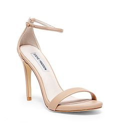 Sandales à talon rose poudré - chaussures mariée - White, Gold & Red Ankle Strap Heels | Steve Madden Wedding shoes