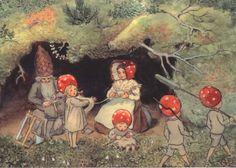 Flower Fairies and Bird Elsa Beskow Elsa Beskow, Art And Illustration, Book Illustrations, Children Of The Forest, Elves And Fairies, Mushroom Art, Fairytale Art, Fairy Art, Vintage Art