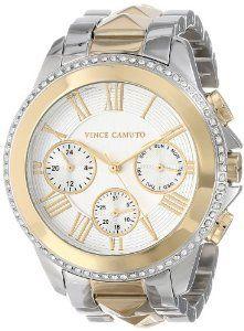 da22e2d4a5d Vince Camuto Women s VC 5157SVTT Swarovski Crystal Accented Two-Tone  Pyramid Bracelet Watch
