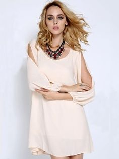 Shop Beige Chiffon Shift Dress With Slip Sleeves from choies.com .Free shipping Worldwide.