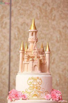 Castle Cake Topper from a Pink + Gold Princess Party via Kara's Party Ideas | KarasPartyIdeas.com (15)
