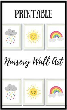 Cloud, Sun, Rainbow PRINTABLE Wall Art   Cute Print Set of 3   Nursery Wall Decor   Instant Digital Download   Kids Art Print   Bright Color #affiliate #nursery #wallart #art #decor #walldecor #baby #toddler