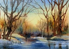 Sunrise In Deep Woods Aceo Painting