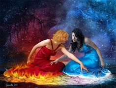 I have always been fascinated by the juxtaposition of opposites and I have wanted to do a piece with fire and ice for some time. Fire and Ice Fire And Ice Wallpaper, Love Wallpaper, 3d Fantasy, Fantasy Women, Fire N Ice, Dreams And Nightmares, Water Element, Opposites Attract, Believe In Magic