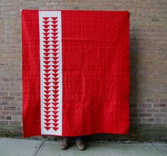 "Six White Horses: XL Ikat: A ""Modern"" Red and White Quilt"