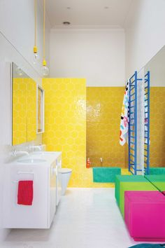 Image result for navy blue bathroom with bright yellow tiles