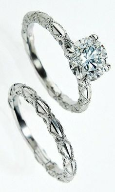 This engagement ring, part of Brian Gavin Diamonds' Lace collection, shines with a 1.5-carat diamond, La Fleur head and intricate hand-worked millegrain on the shank.