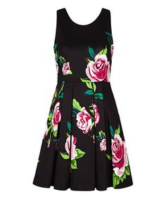 Another great find on #zulily! Black Floral V-Neck Dress #zulilyfinds