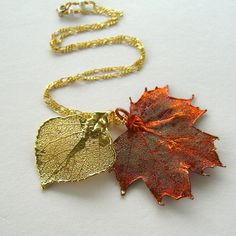 Real Maple and Aspen Leaf Necklace  Autumn by AllNaturalWonders, $29.00