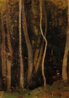 Figures in a Forest, 1860 by Camille Corot. Realism. landscape. Private Collection