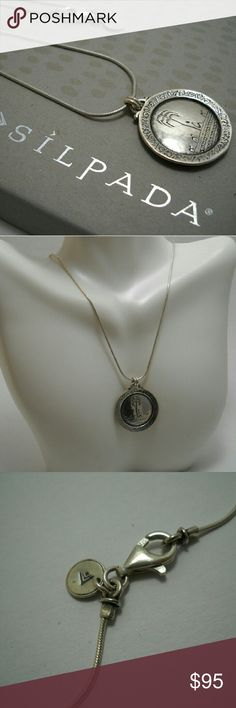 """SILPADA Rep Exclusive Aloha, Hawaii Necklace All sterling silver. Reversible pendant on 18"""" snake chain. There's a weak spot on the chain (as almost all snake chains do), but otherwise it's in excellent condition. Silpada Jewelry Necklaces"""