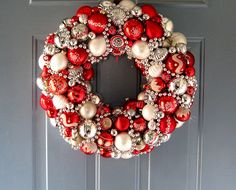 Love this idea of using vintage ornaments.  Would be fun to create wreaths for the house using ornaments passed down through the generations.