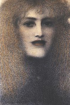 The Red Lips - Fernand Khnopff - The Athenaeum Rose Croix, Art Through The Ages, Etching Prints, Yellow Art, Figure Painting, Artist Art, Sculpture, Red Lips, Art Images